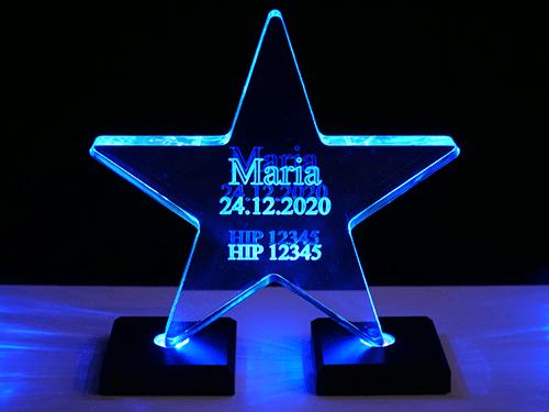 Stjerne i akrylglass (opplyst)